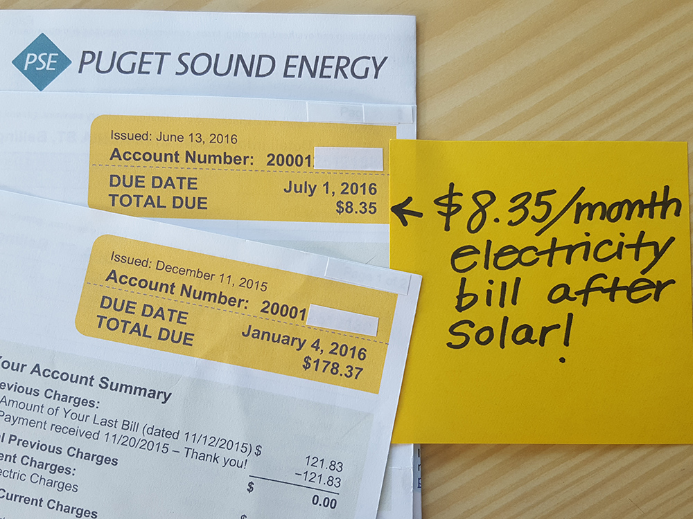 utility bill after switching to solar power